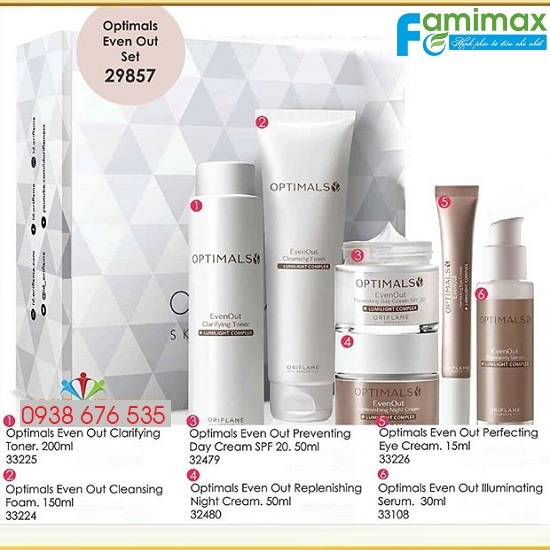 Bộ mỹ phẩm trị nám Oriflame Optimals Even Out 29857