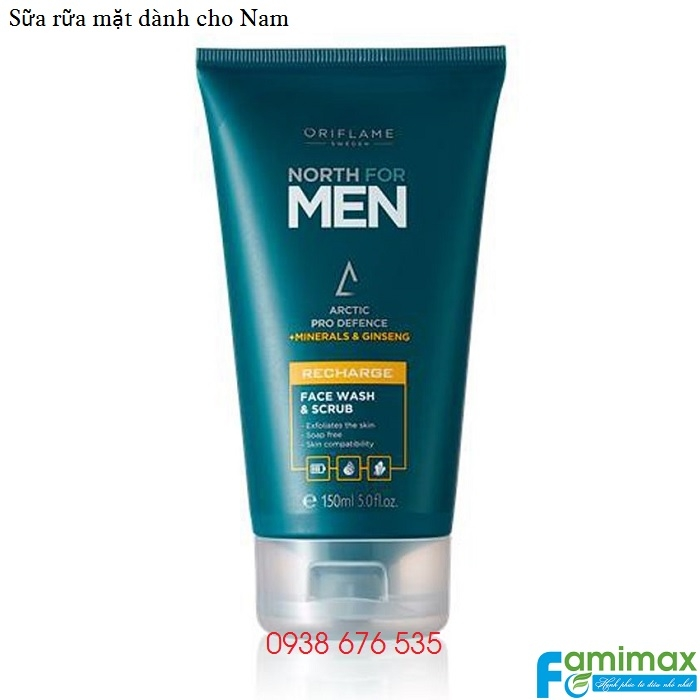 Sữa rữa mặt cho nam Oriflame North for Men Recharge